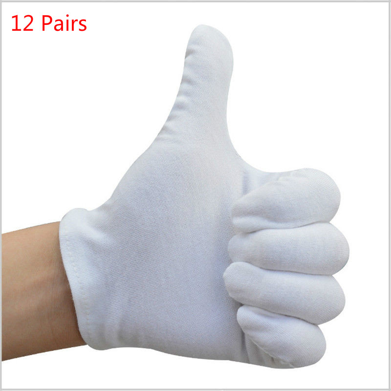 12 Pairs Cotton White Men Women Gloves General Purpose Moisturising Lining Gloves