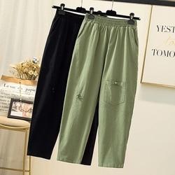 Summer Patchwork Cotton Linen Pants Female Elastic Waist Vintage Buttons Women Pants Large Khaki Loose Casual Pantalones Mujer