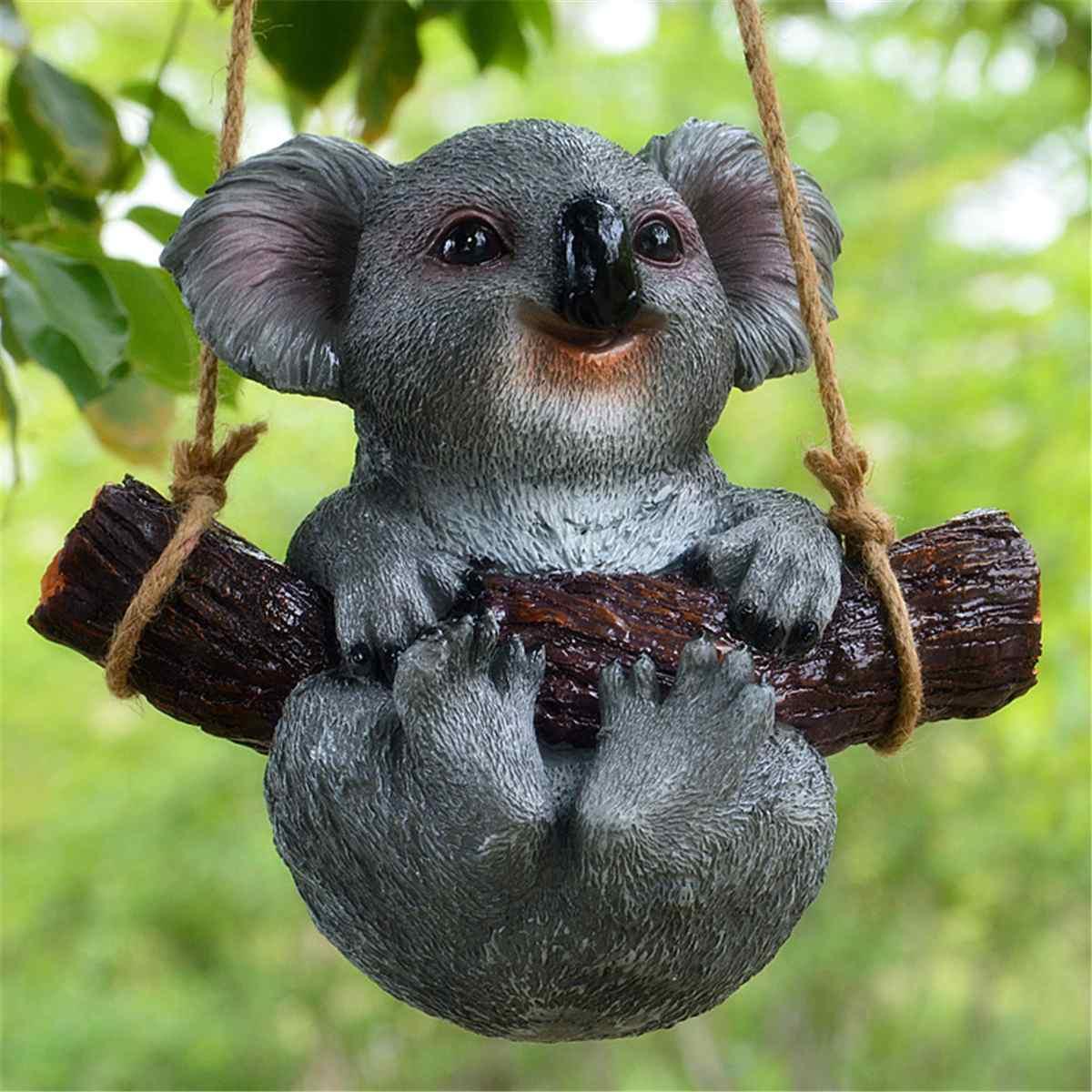 1/pces jardim quintal decoração simulação koala panda estátua animais escultura resina artesanato decoração para casa ornamento
