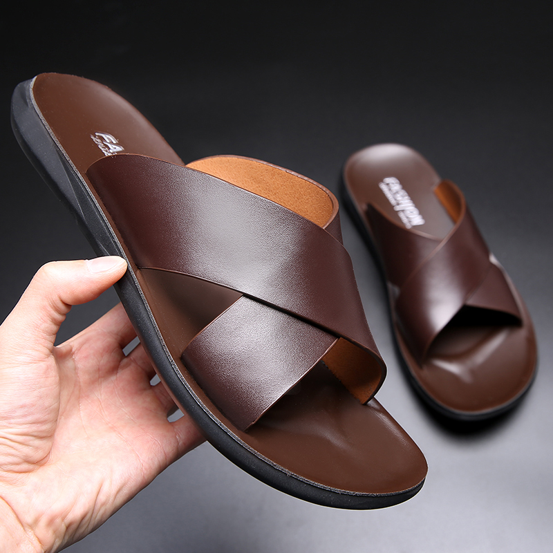 Yomior Brand New Fashion Summer Men Shoes Vintage Italian Flats Casual Non-slip Beach Sandals Genuine Leather Flip Flop Slippers