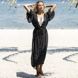 Image 3 - 2020 New Sexy Beach Cover Up Women Bikini Swimsuit Cover Up Polka Dot Beach Dress Long Tunics Bathing Suits Cover Ups Beachwear