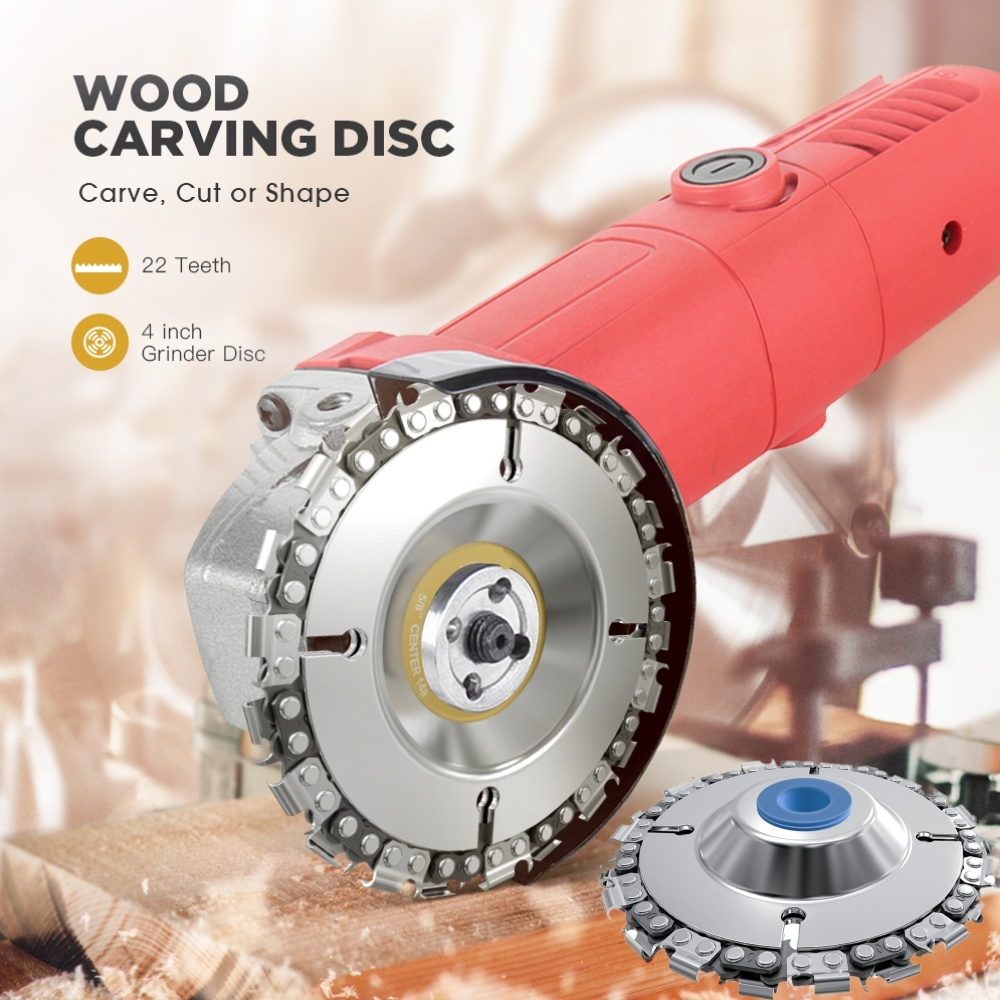 4 Inch Grinder Chain Disc 22 Tooth Wood Carving  For 100/115 Angle