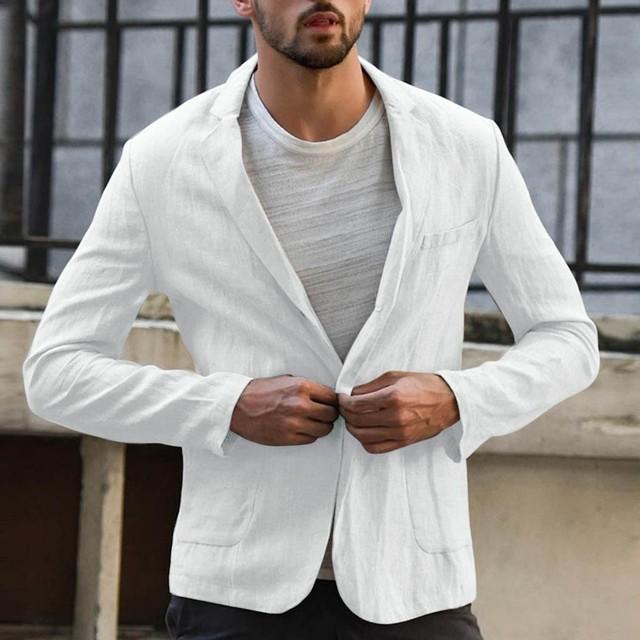 2019 Men's Blazer Suits Tops Slim Fit Linen Blend Pocket Solid Long Sleeve Suits Blazer Men Outwear Custom Business B1
