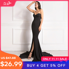 Sexy Strapless Long Black Maxi Dress Front Slit bare shoulder Red Womens evening summer dress Night Gown Party Dress