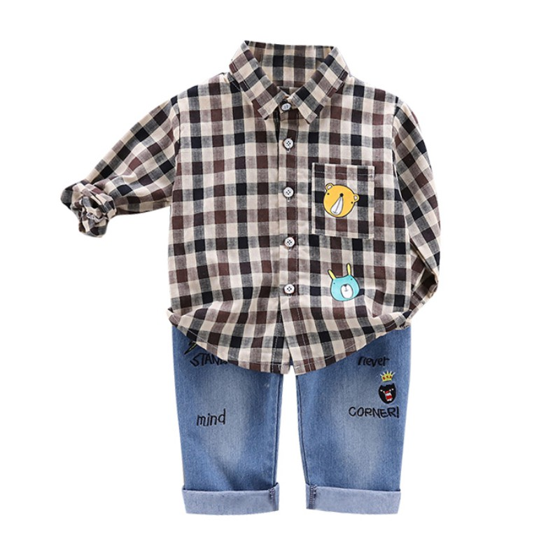 2pcs set Toddler Boys Clothes Summer Autumn Clothing Kids Sets Costume Blouse Tops Denim Pants Trouser Sets for 6 Months 4 Years in Clothing Sets from Mother Kids