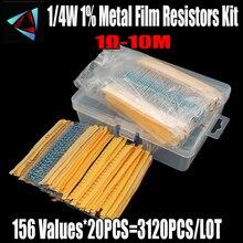 3120pcs 156 Valori di 1 ohm a 10M ohm 1/4W 1% Resistenze A Film Metallico Assortimento Kit componenti elettronici