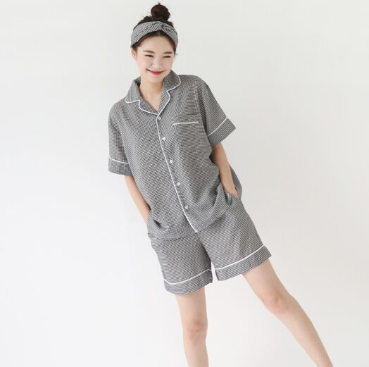 2018 South Korea New Style Summer Cute INS Plaid Short Sleeve + Shorts Pajamas Homewear Set Women's With Hair Band
