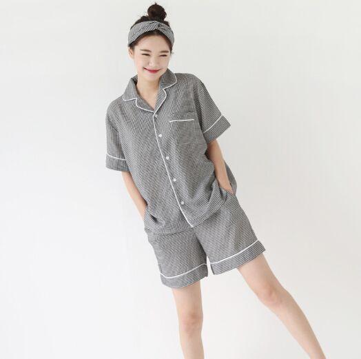 2018 South Korea New Style Summer Cute INS Plaid Short Sleeve + Shorts Pajamas Homewear Set Women's With Hair Band