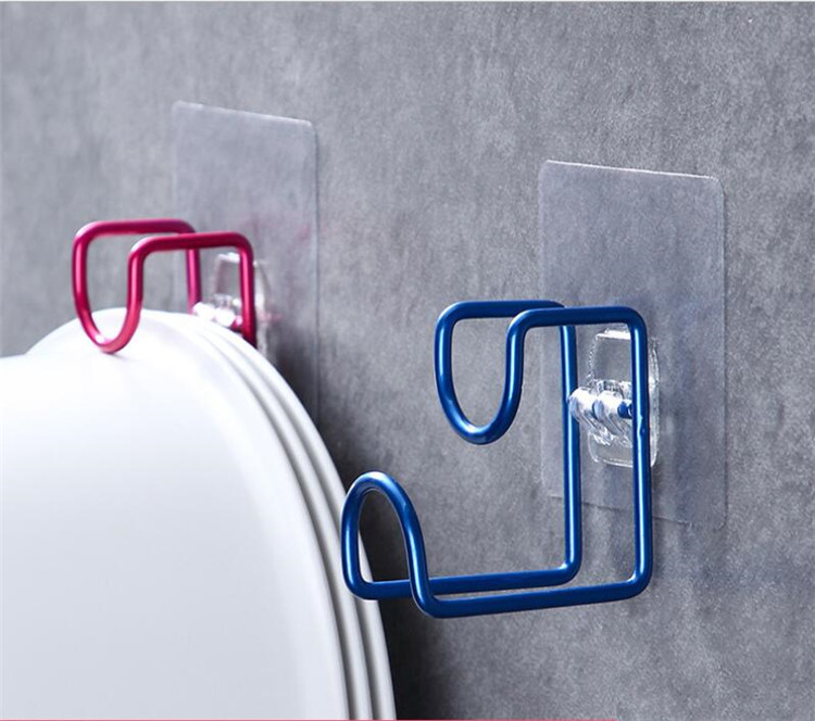 Creative Wall Mounted Door Sticky Hanger Holder Wash Basin Holder Stainless Steel Strong Adhesive Hook Kitchen Bathroom Hooks