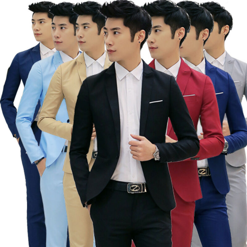 New Mens Casual Slim Fit One Button Suit Blazer Business Coat Jacket With Pocket Blazers