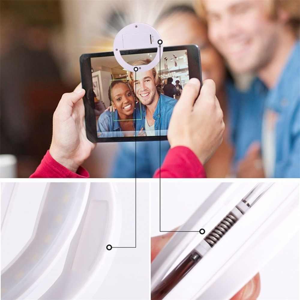 Selfie LED anneau Flash lumière Portable téléphone Selfie lampe lumineuse pince lampe appareil photo photographie vidéo projecteur lentille luz para movil