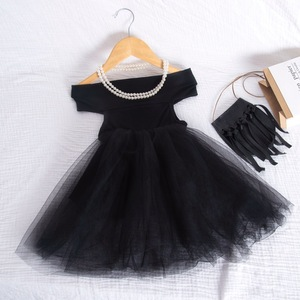 Baby Girls Clothes Kids Girls Summer New Tutu Dress Sleeveless Pure Color Word Shoulder Dresses Lace Princess Party Costume