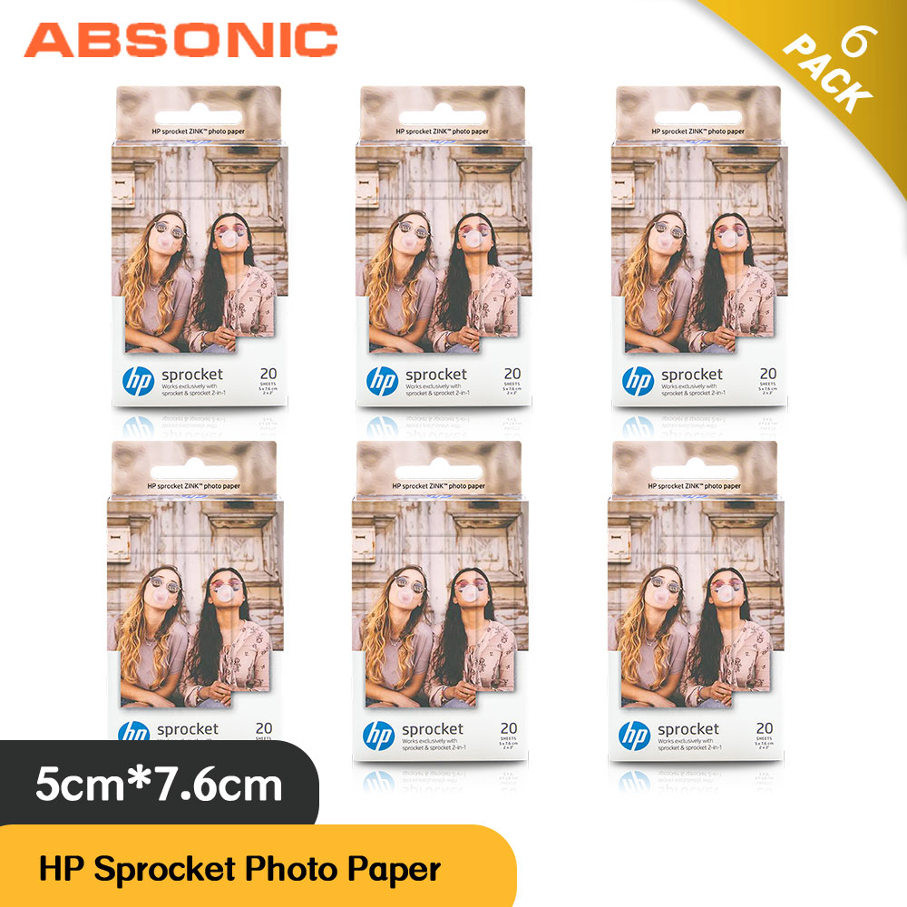 Absonic 6 Box  120 Sheets  for HP Sprocket Photo Paper 2x3inch Mini Photographic Paper Pocket Photo Printer Zink Paste Photo Paper