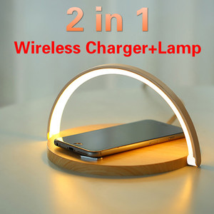 Qi Wireless Charger Table Lamp For iPhone X XR XS 11 PRO Max Mobile Phone Charging Holder Night Light Pad Phone Stand For Xiaomi(China)