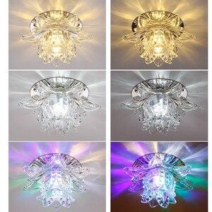Image 3 - Colorful Led Lotus Crystal Ceiling Chandelier Light Spot Light for Corridors Balconies Hallways Creative Plafonnier Luminaire