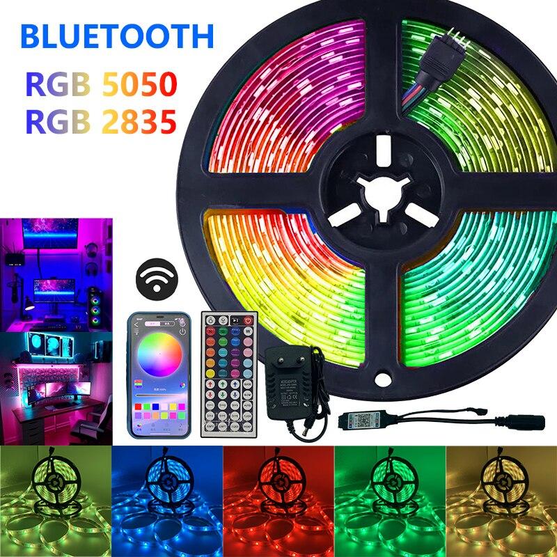 Светодиодные ленты светильник SMD RGB 5050 2835 Luces полоски ИК Bluetooth WI-FI Управление DC12V Мощность Гибкая Диодная лента украшения дома