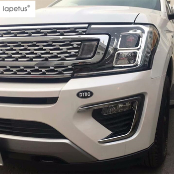Lapetus Accessories For Ford Expedition 2018 2019 Bright Style Front Fog Lights Foglight Lamp Molding Cover Kit Trim 2 Pcs / Set lapetus accessories for tesla model x 2016 2017 2018 front hood bonnet strip head engine trim decorative strip molding cover kit