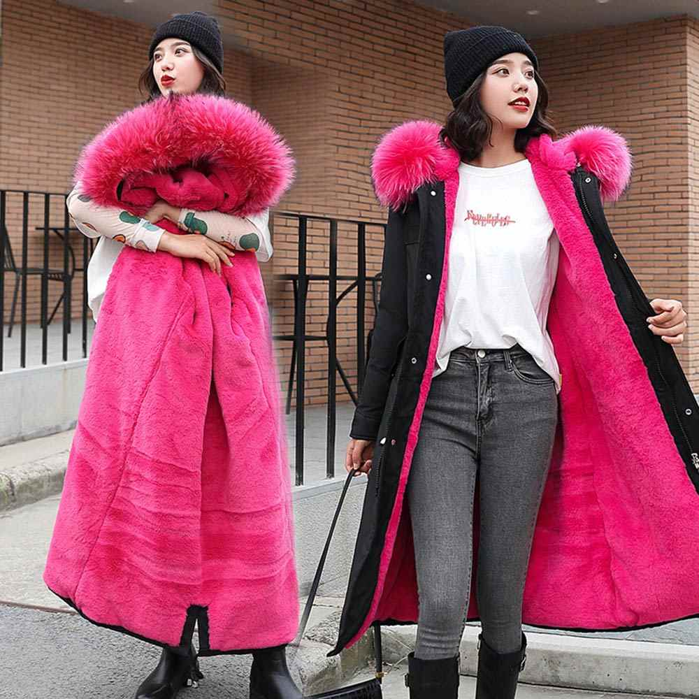 PinkyIsBlack-30 องศาหิมะสวมใส่ยาว Parkas ฤดูหนาวเสื้อขนสัตว์เสื้อผ้าหญิงซับขนสัตว์หนาฤดูหนาว Coat ผู้หญิง