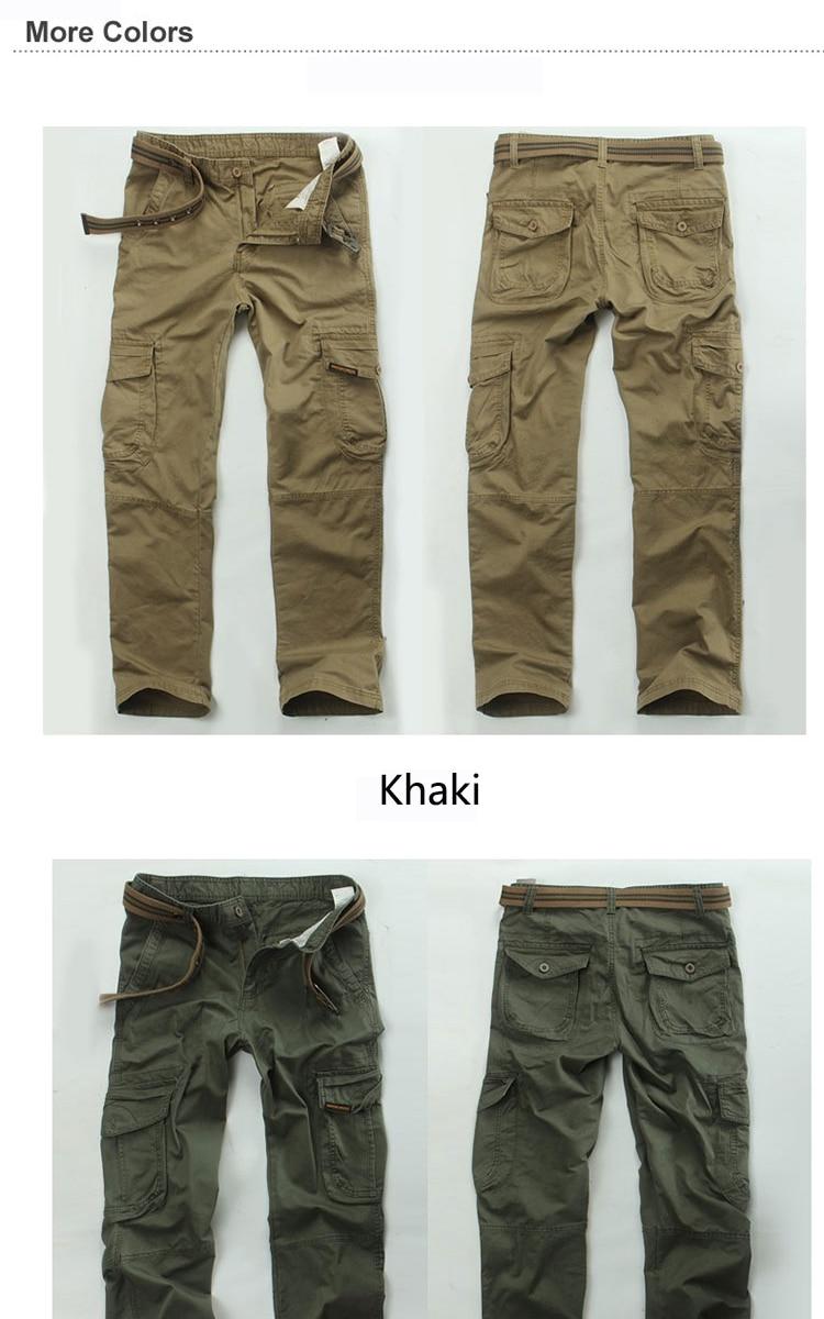 KSTUN New Men's Cargo Pants Casual Overalls 100% Cotton Straight Cut Male City Military Tactical Pants Men Loose Fit Trousers No Belt 11