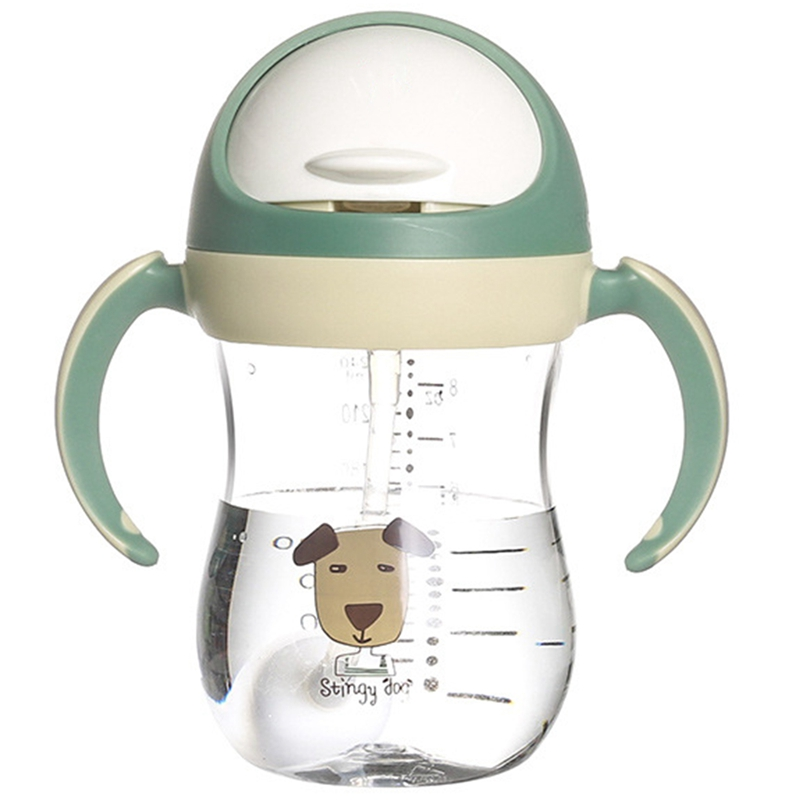 350Ml Baby Water Bottle Sippy Cup Soft Spout Cup Gravity Ball V-Type Straw Anti Design For Baby