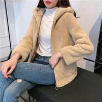 Nouveau automne et hiver 2019 hoodies manteau long paragraphe solide vêtements de couleur femmes fourrure veste à manches longues épais chaud
