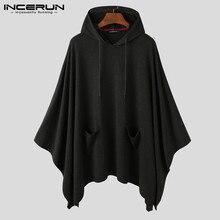 INCERUN 2020 Fashion Men Cloak Hoodies Solid Color Loose Hooded Cape Streetwear Casual Chic Men Sweatshirts Pockets Poncho 5XL