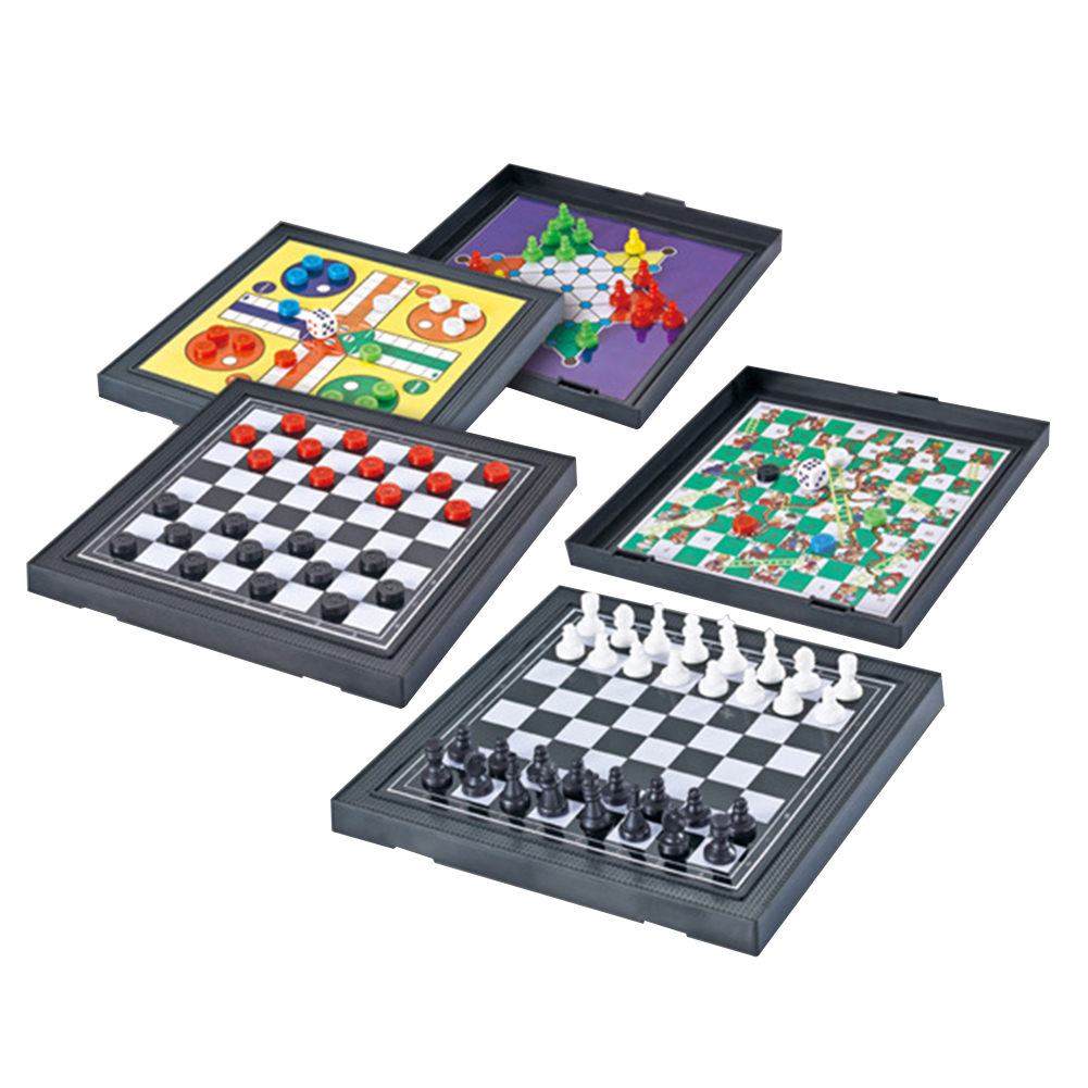 5 In I Board Game Set Travel Traditional Toy Parent Child Entertainment Gifts Checkers Kids Adults Mini Magnetic Chessboard