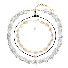 3Pcs Shell Pearl Choker Necklace for Women Hawaiian Seashell Choker Party Beach Pendants Adjustable Cord Necklace Set Gifts lace wide adjustable choker necklace