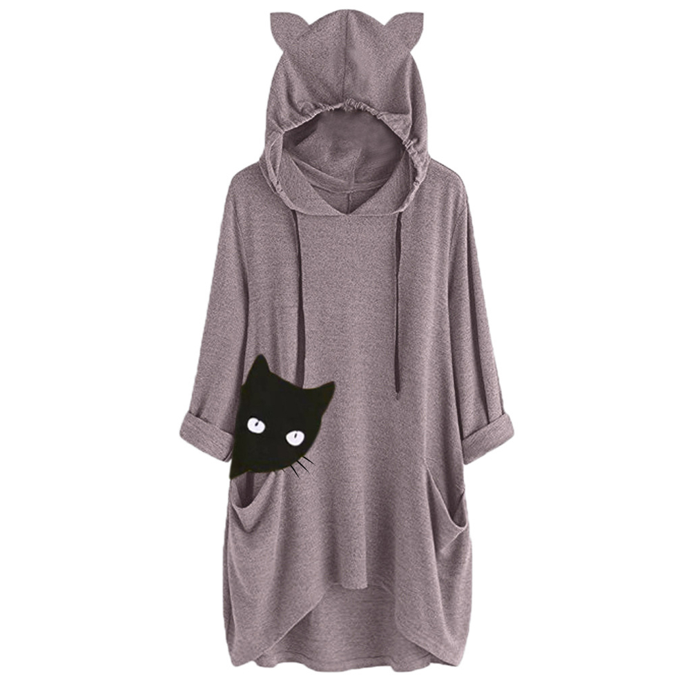 Autumn Drawstring Fashion 3/4 Sleeve Cropped Shopping Women Hoodie With Pockets Loose Printed Cat Ears Daily Casual Spring
