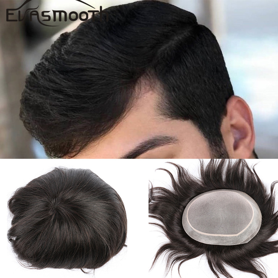 Men's Hair Pieces Unit Hair Replacement System Indian Hair Wigs Lace Front Mens Toupee Male Human Short Hair Natural Wig For Men