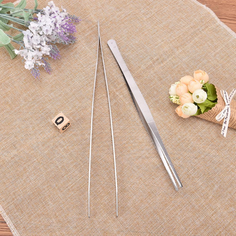 25/30cm Toothed Tweezers Barbecue Stainless Steel Long Food Tongs Straight Home Medical Tweezers Garden Kitchen BBQ Tool