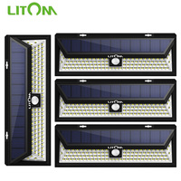 4 Pack LITOM 102 LED Solar Lights Motion Sensor Outdoor Wall Lamp Waterproof IP65 Energy Saving Yard Solar Security Garden Light