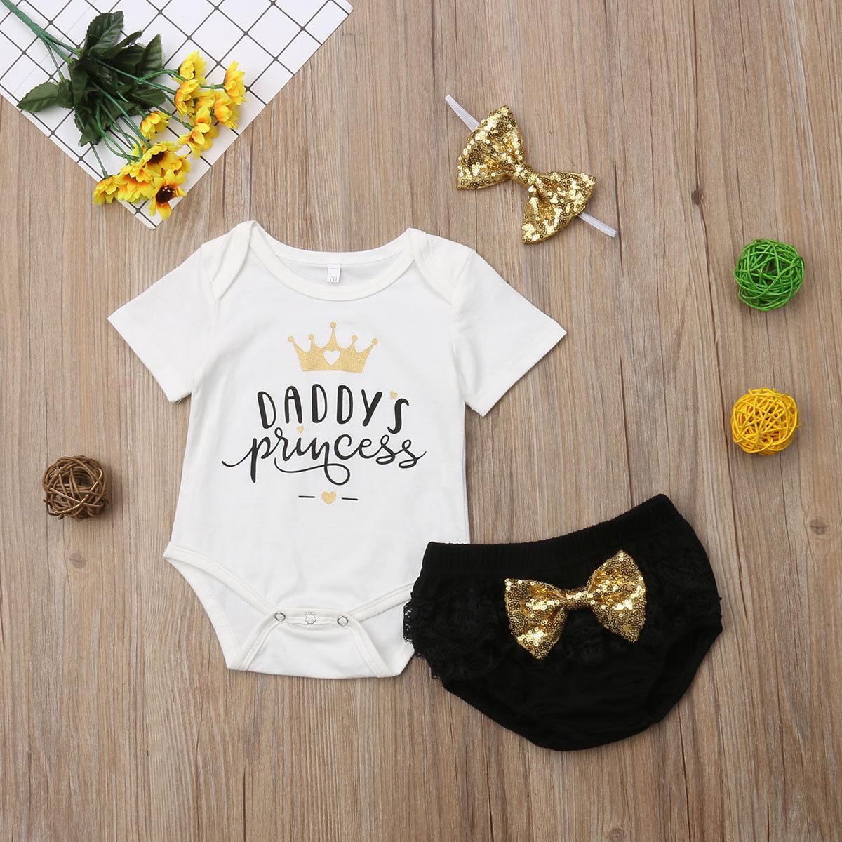 3Pcs Baby Girl Daddys Princess Short Sleeve Romper Tops Sequins Bow Lace Shorts Headband Set