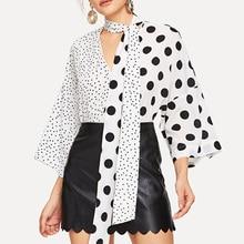 Vintacy Polka Dot Blouse Women Plus Size White Shirt 2019 Oversized Blouses Vintage Chic Print Tops Korean Shirts Elegant Boho