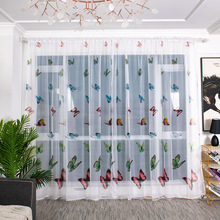 New Butterfly Curtain Tulle Door Screen Window Curtain Blind Drape Panel Sheer Valances Bedroom Living Room Curtains Cortinas butterfly print sheer tulle window curtain