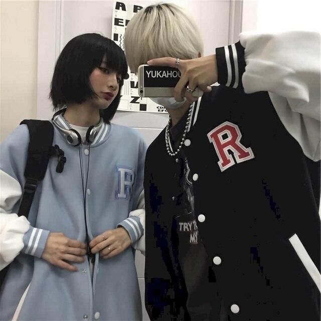 Autumn Harajuku jacket men baseball clothes women Hong Kong style retro letter embroidery plus velvet thick baseball uniform 5