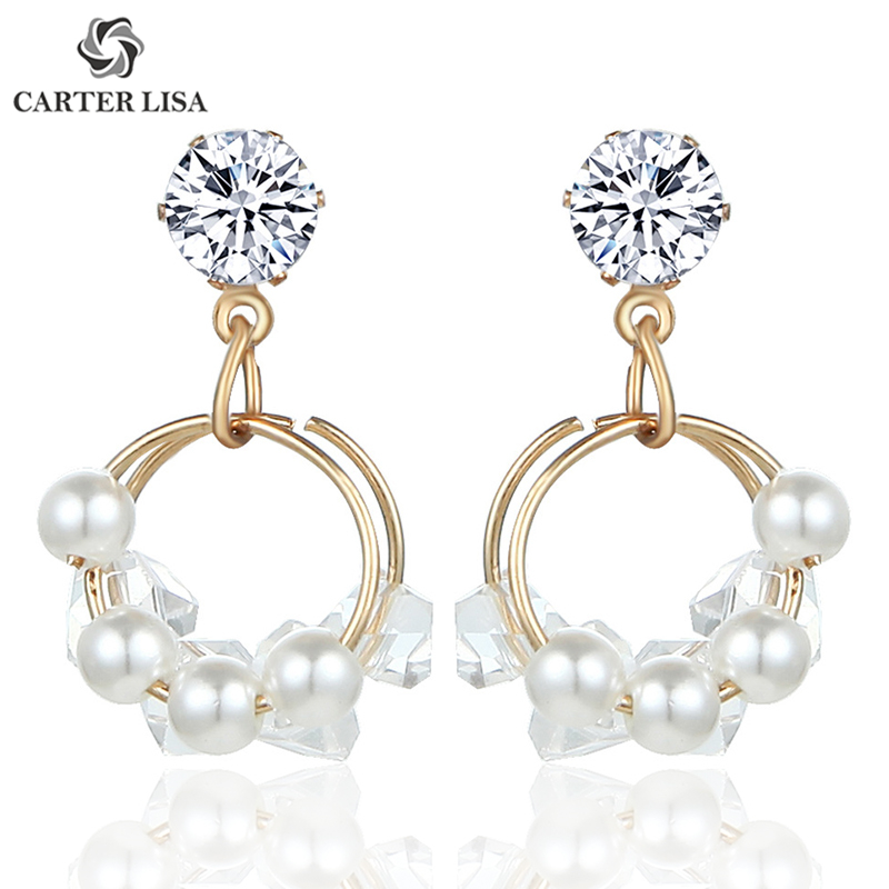 CARTER LISA Fashion Jewelry Gold Cute Circle Pearl Fringed Crystal Dangle Earrings Best  For Women HLEZ171000