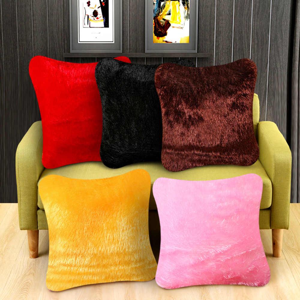 Fluffy Plush Faux Fur Throw Pillow Cover Cushion Case Solid Soft Sofa Decor