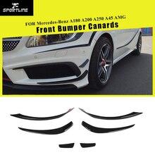 Класс углеродного волокна передний бампер Canards сплиттеры Противотуманные фары крышка планки для Mercedes-Benz A180 A200 A250 A45 AMG 2013