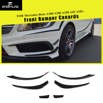 A Class Carbon Fiber Front Bumper Canards Splitters Fog Lamps Cover Trims for Mercedes-Benz A180 A200 A250 A45 AMG 2013 - 2016