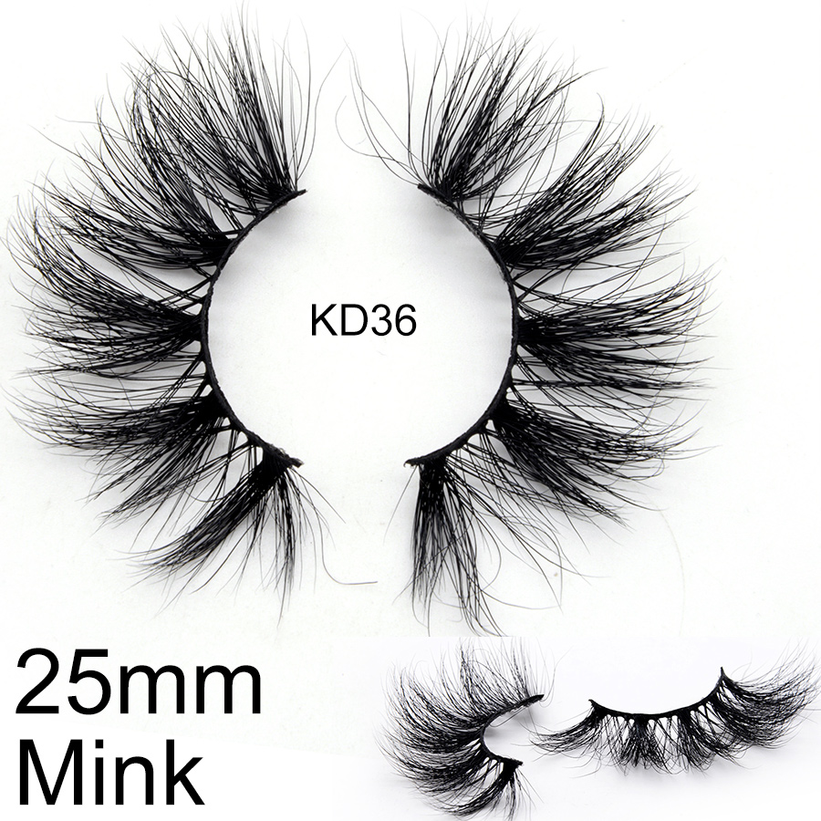 25mm Real Mink Lashes Long Thick 3D Eyelashes KD-Series High Quality Wholesale Optional Custom Packaging Box And Logo Label