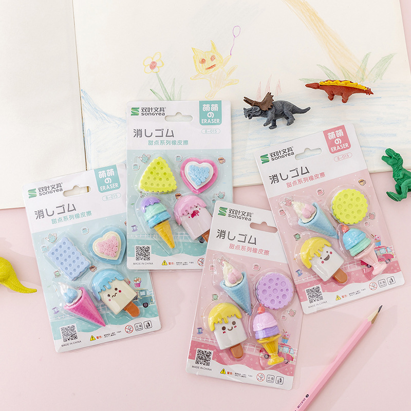 4 Pcs/pack Kawaii Sweet Candy Cake Dessert Rubber Eraser Primary Student Prizes Promotional Gift Stationery