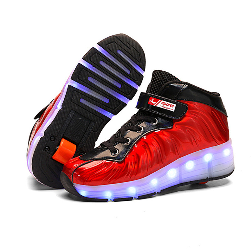 Size 29-39 Led Wheel Sneakers for Kids boy girl USB Charging Glowing Roller Shoes with Lights Double Wheels Children Skate Shoes