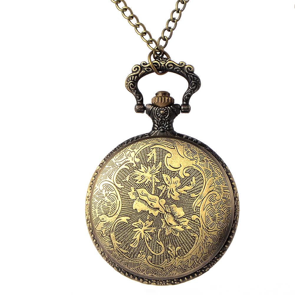 Vintage Bronze Steampunk Quartz montre de poche creux Carribean Pirate tête de crâne horreur avec chaîne pour hommes femmes pendentif collier