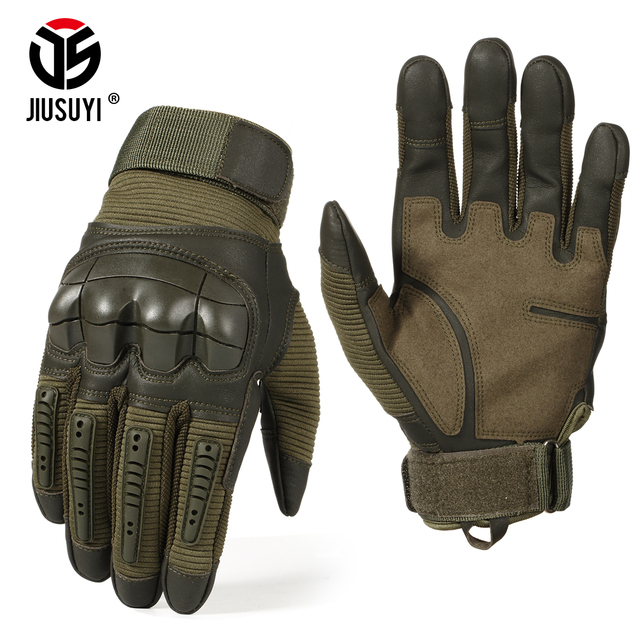 Full Finger Tactical Army Gloves Military Paintball Shooting Airsoft Bicycle Combat PU Leather Touch Screen Rubber Hard Knuckle 1