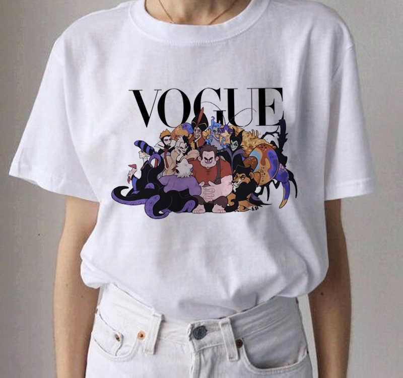 Zomer Vogue Prinses Belle Sneeuwwitje Ariel Jasmijn Alice Cinderella Aurora T-shirt Casual Tops T-shirt Voor Lady Meisjes