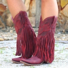 цена на Women Mid-calf Boots Low Heel Retro Pointed Toe Motorcycle Boots Casual Fringed Leather Boots Shoes Autumn Women Tassel Boots