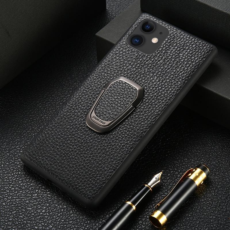 Original Litchi Grain Leather Phone Case for iPhone 11 Pro Max X XS Max XR 7 8 Plus 6 6s 7 Plus SE 2020 Magnetic Kickstand Cover
