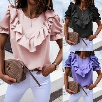 Women Fashion Puff Sleeve Blouse Ladies Casual Ruffle Top Summer Short Sleeve Round Neck Soild Color Shirt Chemise Femme D30 цена 2017