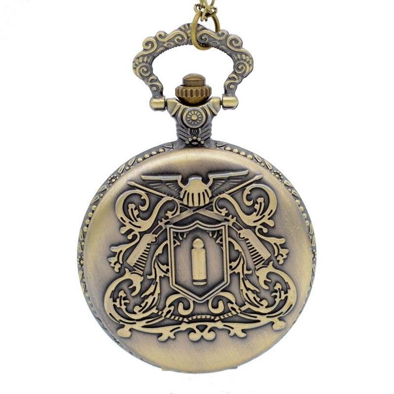 Large Quartz Pocket Watch Retro Design Bronze Medal Pocket Watch